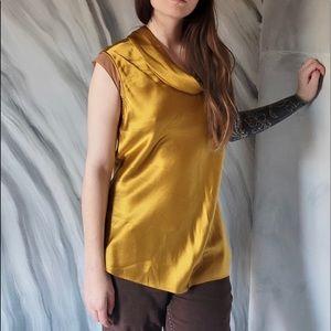 NATORIOUS sleeveless ochre/gold silk cowl neck